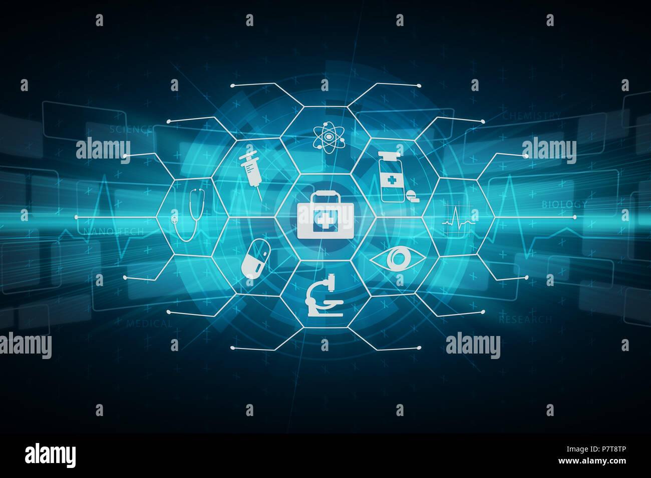 Moderner Mix media overlay Science Medical Healthcare das Symbol Grafik illustration Kunst Hintergrund Design für Hintergrundbild. Stockbild