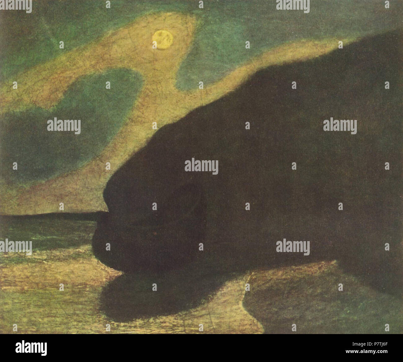 . English: Seeküste im Mondlicht ca. 1890 16 Albert Pinkham Ryder003 Stockbild
