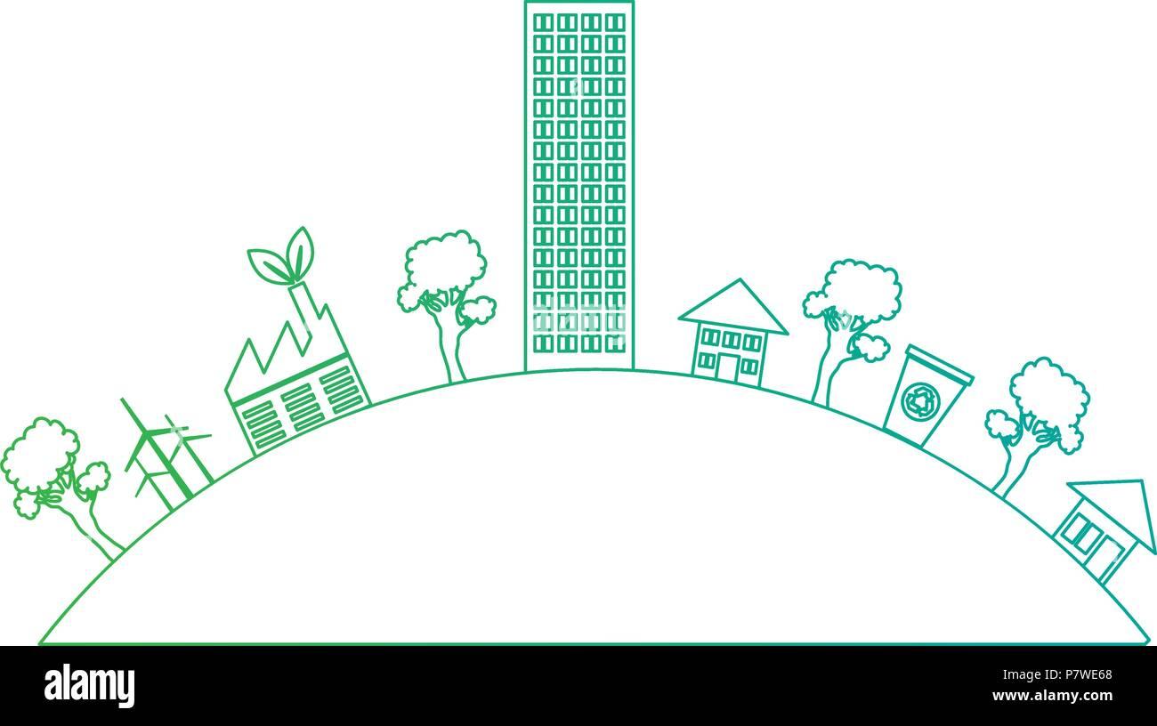 grüne Stadt Gebäude Symbol Stock Vektor