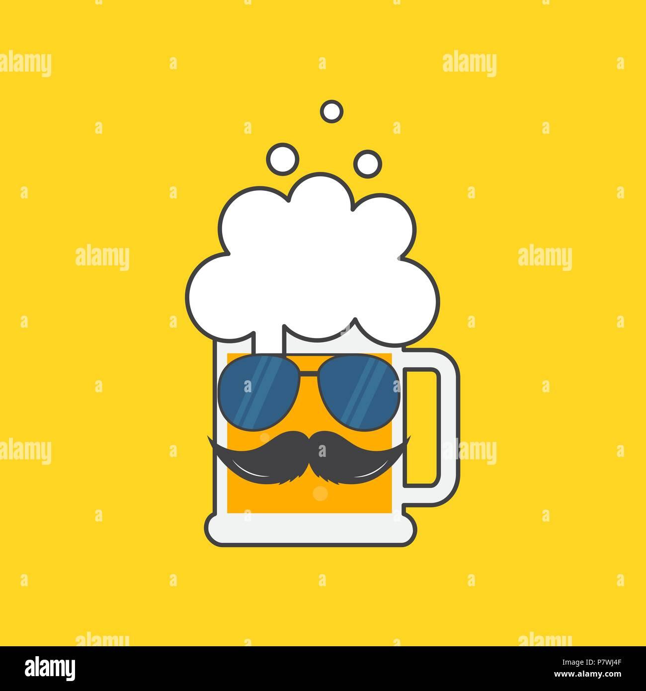 Bierkrug mit Sonnenbrille und einen Schnurrbart. Oktoberfest hipster ...