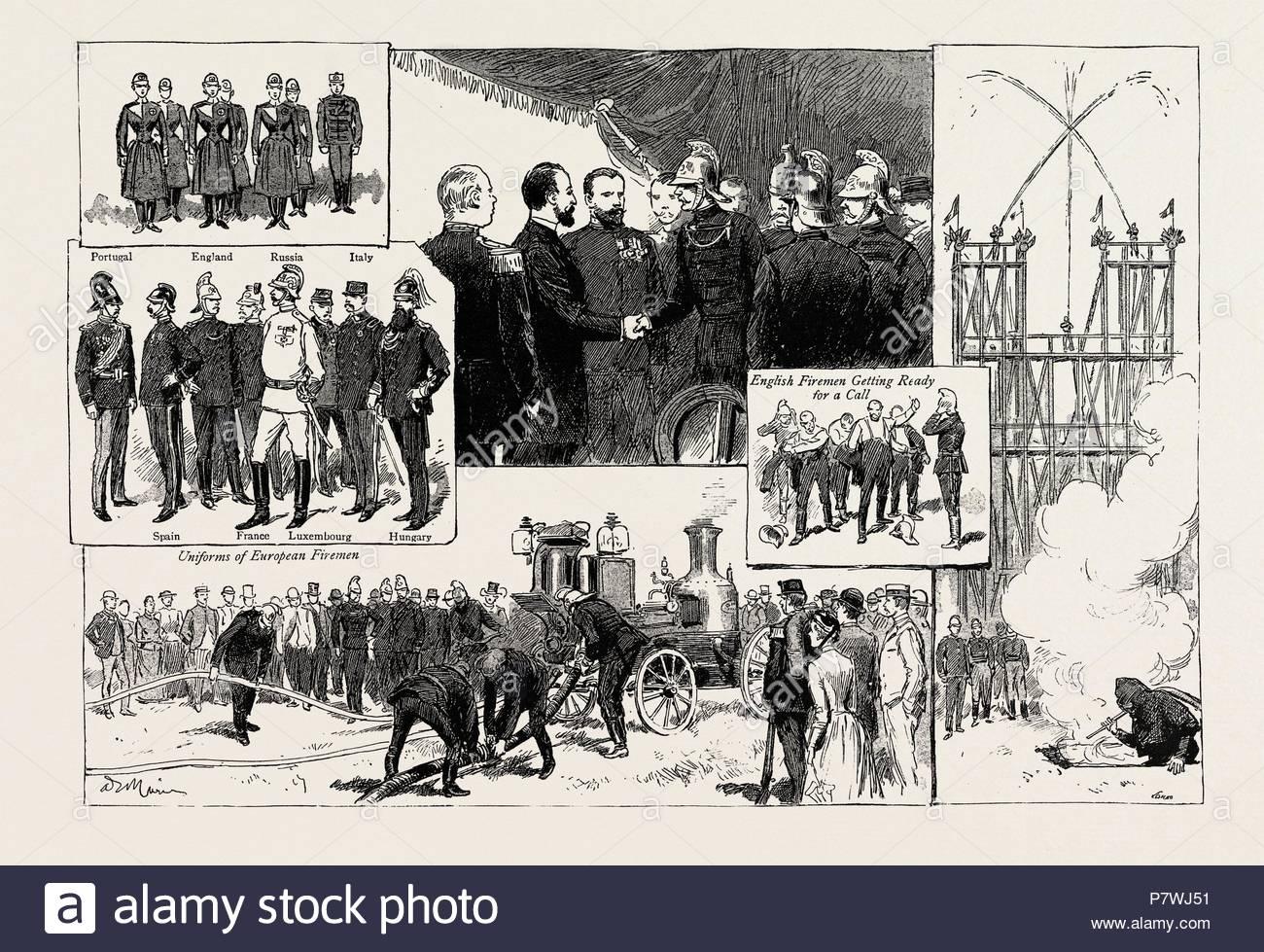 Die Feuerwehr Kongress In Paris Frankreich 1889 Englisch