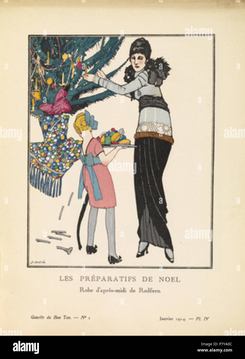 Mode Platte von 1914 La Gazette du Bon Ton Titel: \'Les Préparitifs ...