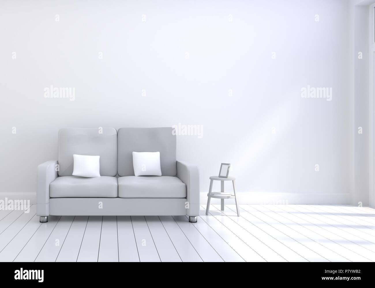 Moderne Raumgestaltung Wohnzimmer mit Sofa grau mit weißen ...