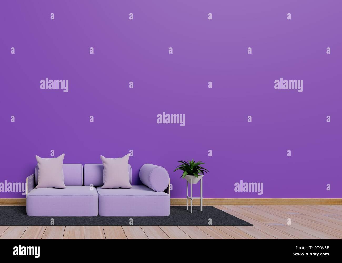 Modernes Interior Design Von Lila Wohnzimmer Mit Einem Sofa Und Einem  Blumentopf Auf Braun Glänzenden Holzfußboden. Graue Matte Element.