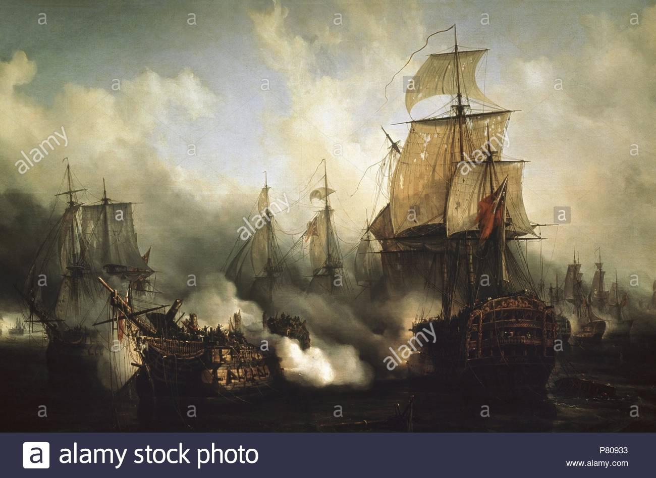 Auguste Etienne Francois Mayer (1805-1890). Französischer Maler. Die Redoutable bei Trafalgar, 21. Oktober 1805. Öl auf Leinwand. Musée De La Marine, Paris, Frankreich. Stockbild