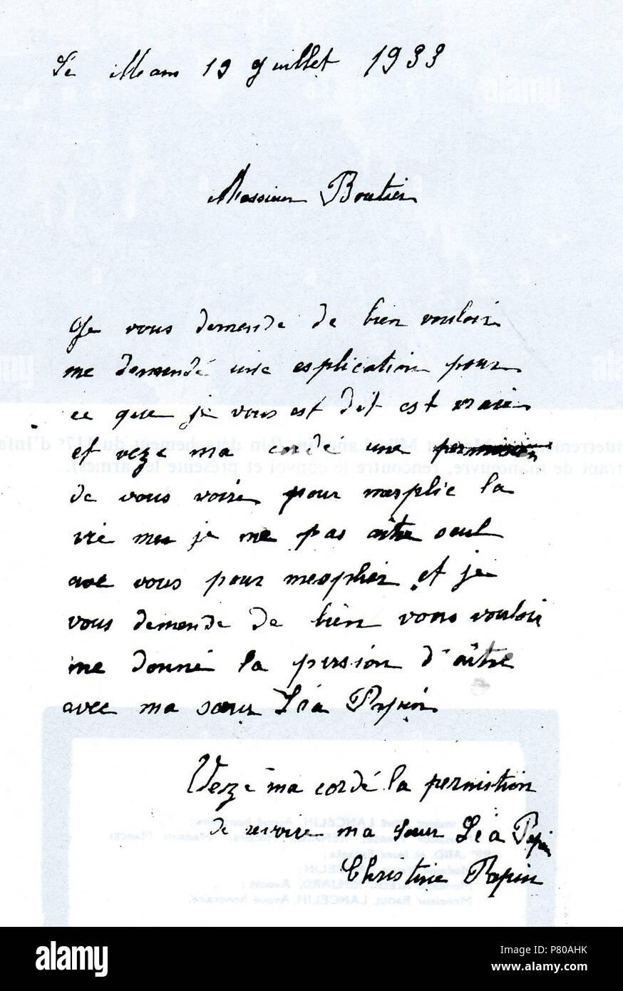 Englisch Brief Von Christine Papin 1933 300 Papin Sisters Brief