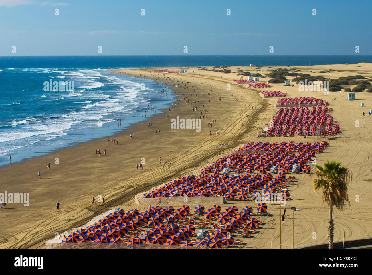 Blick auf den Strand von Playa del Ingles, an den Dünen von Maspalomas Stockbild