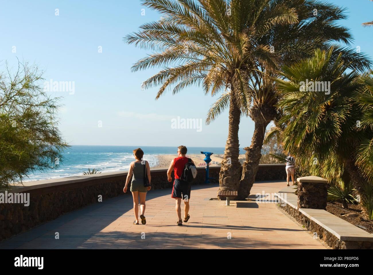 Blick entlang Palmen gesäumten Promenade oberhalb von Playa del Ingles in Playa del Ingles Stockbild