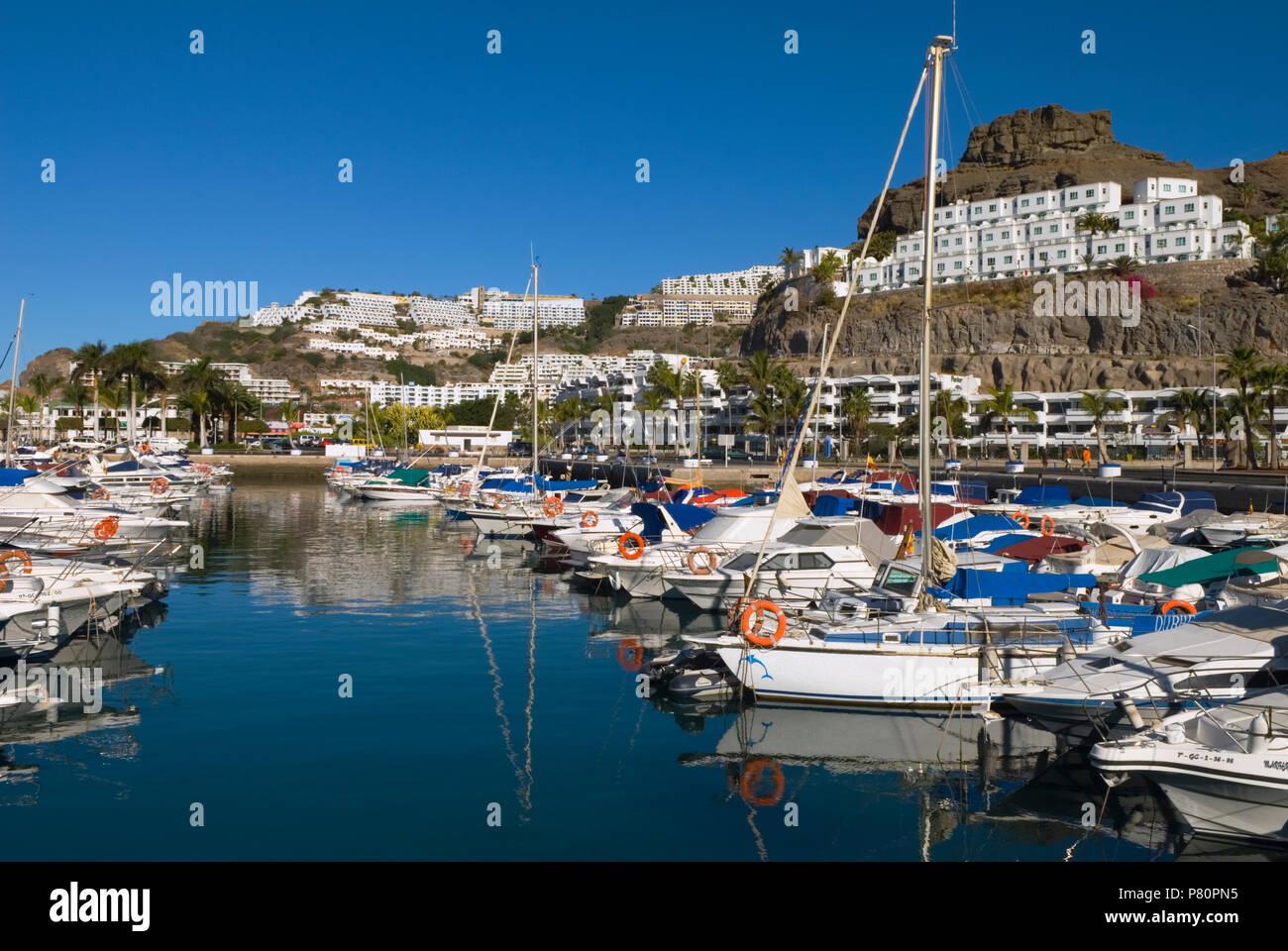 Spanien - Kanarische Inseln - Gran Canaria - Puerto Rico - Blick auf die MarinaStockfoto