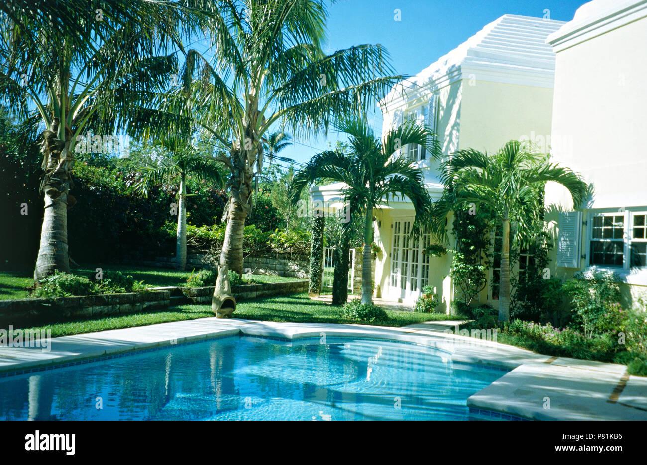 Türkisfarbenen Pool gesäumt mit Palmen im Garten von moderne Villa Fotos