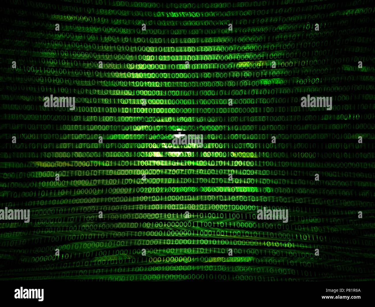 Anfällige code Hacking Stockbild