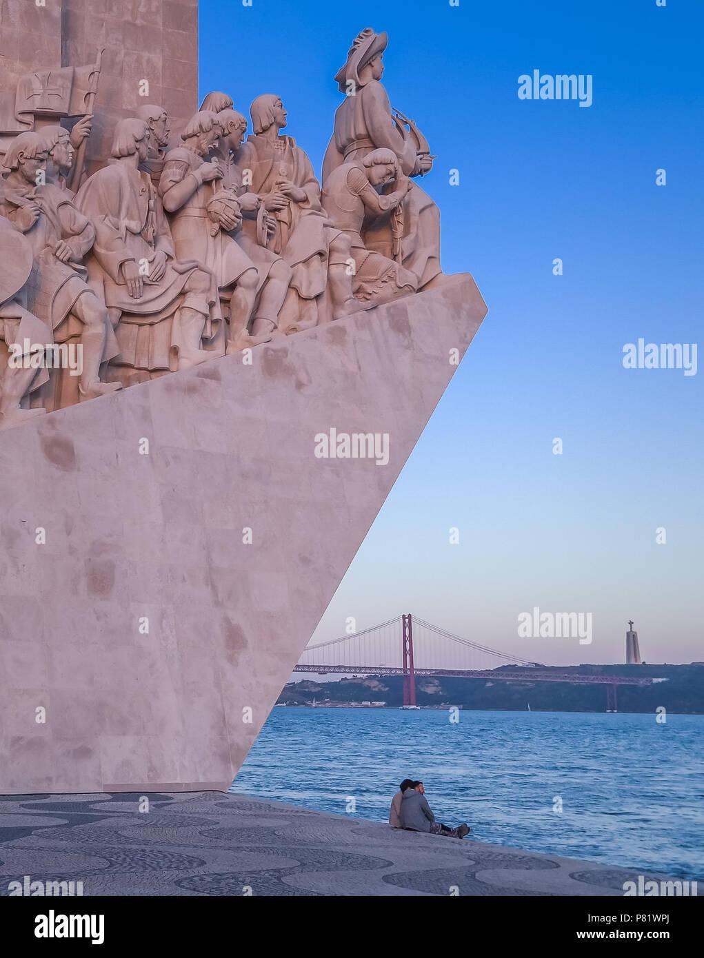 Lissabon, Portugal, Denkmal der Entdeckungen, Padrão dos Descobrimentos Stockbild