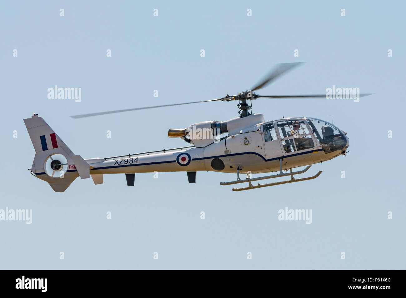 Gazelle Geschwader Hubschrauber im Flying Display an RNAS Yeovilton International Air Tag, UK am 7. Juli 2018. Stockfoto
