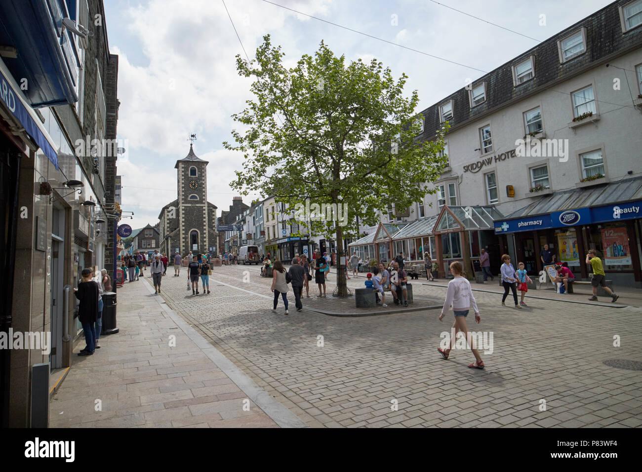 Main Street, die Halle in Keswick cumbria England Großbritannien zu moot Fußgängerzone Stockbild