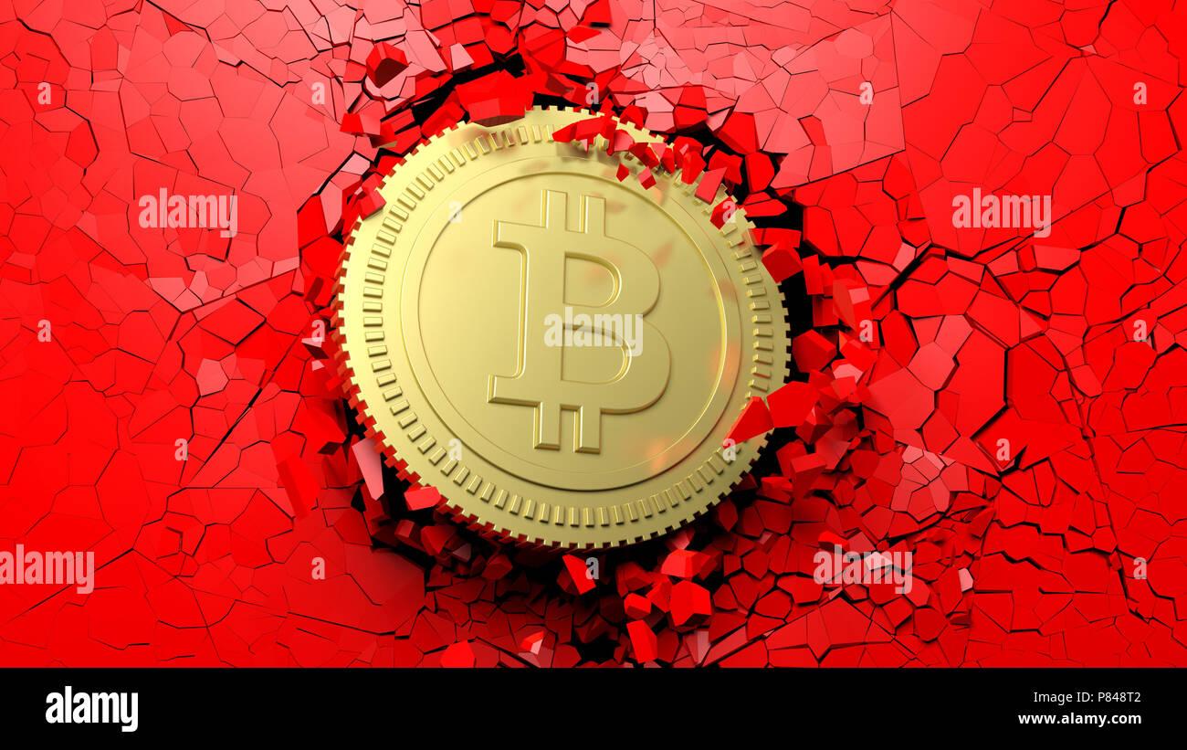 Beeindruckend Durchbruch Wand Dekoration Von Cryptocurrency Konzept. Bitcoin Brechen Mit Grosser Kraft