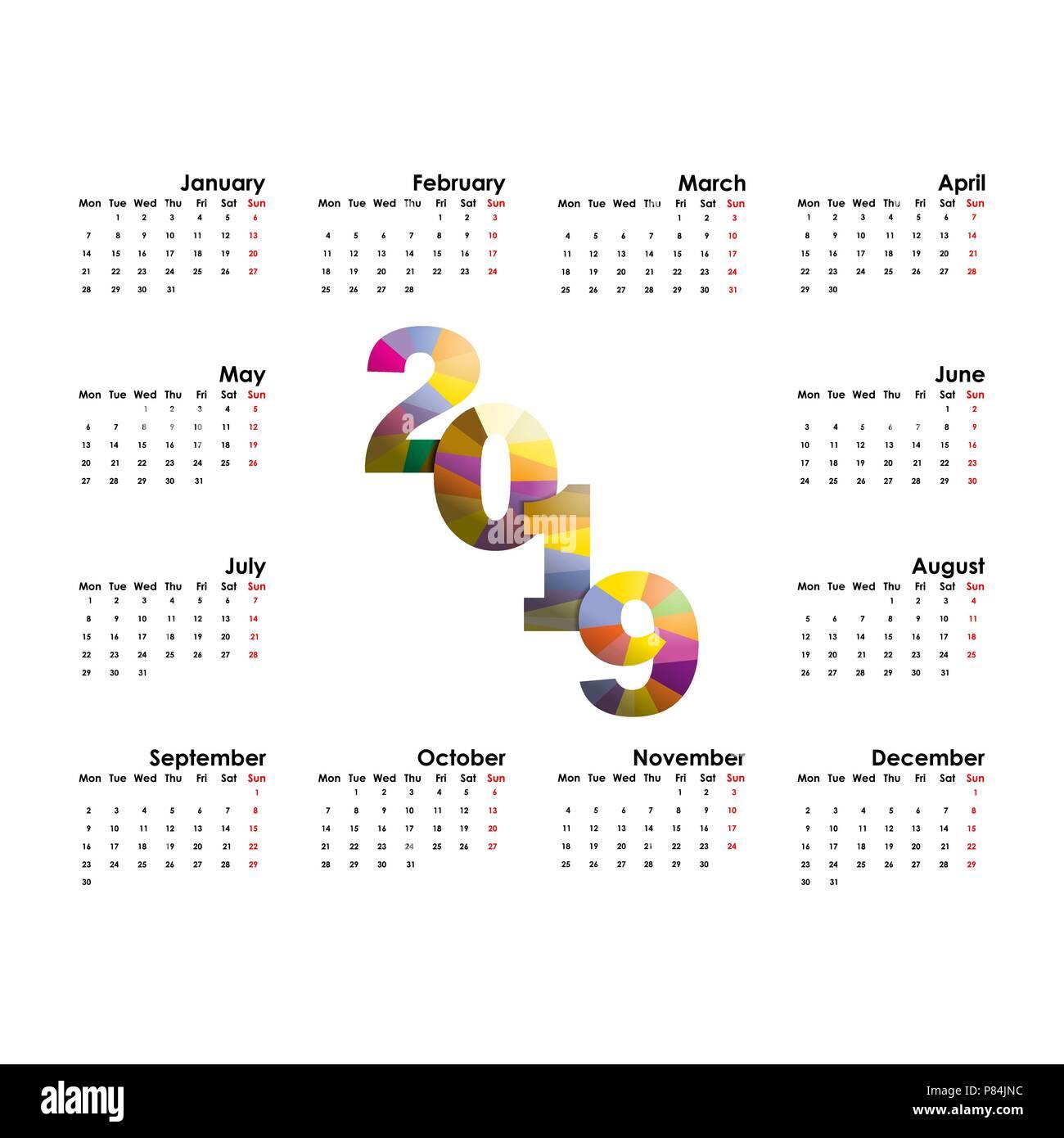 Calendar Design Brief : Vorlage kalender beginnt montag vektor