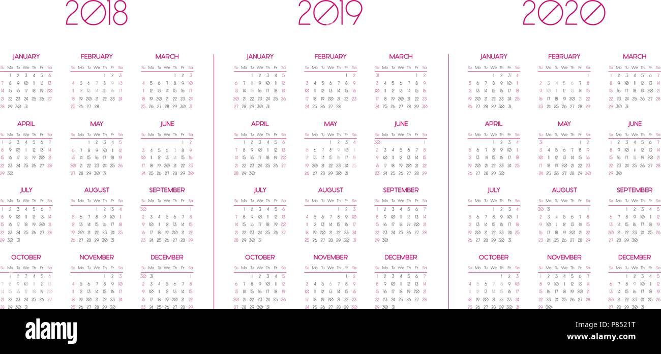 vorlage kalender f r 2018 2019 2020 vektor abbildung. Black Bedroom Furniture Sets. Home Design Ideas