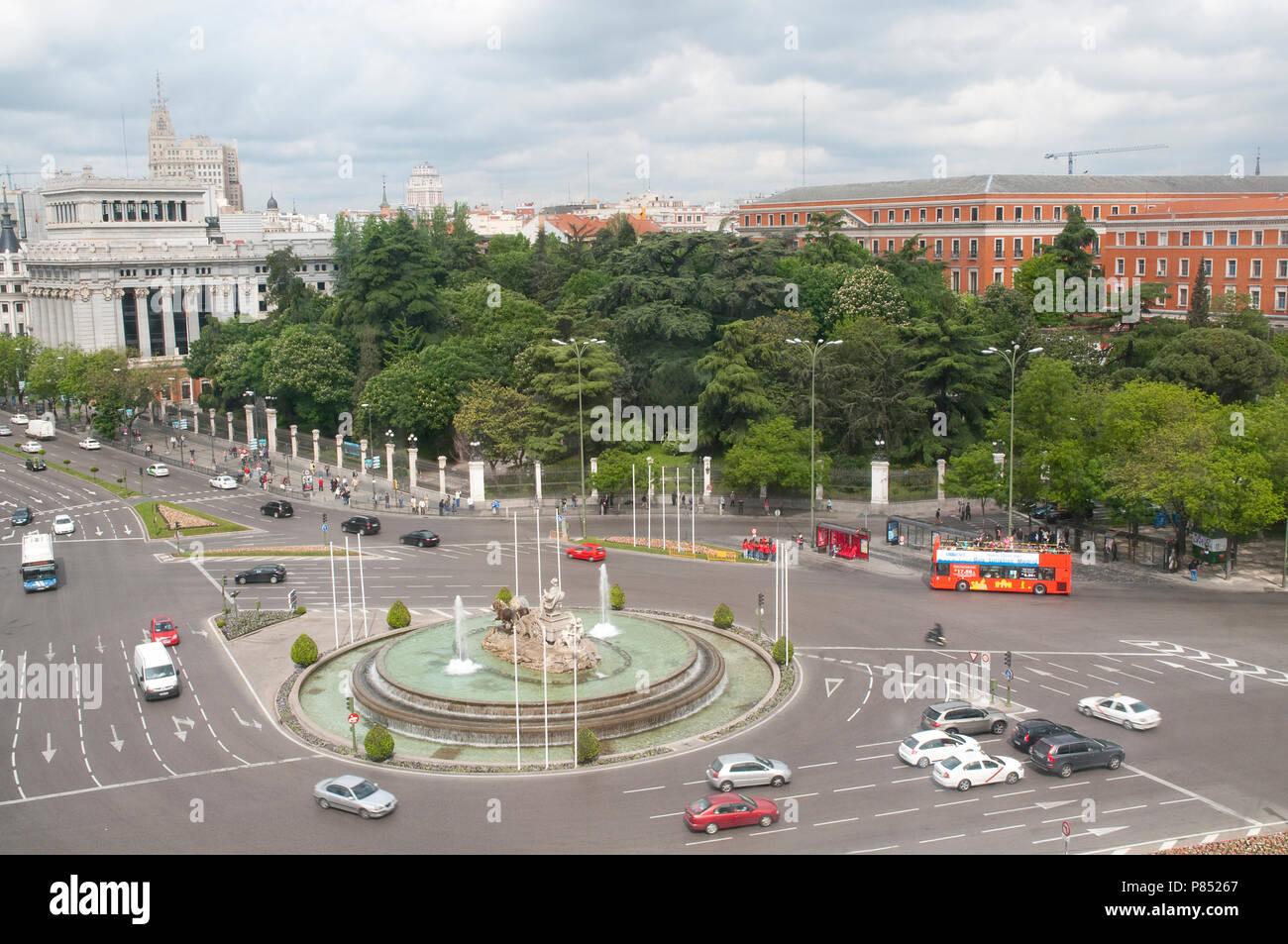 Plaza de la Cibeles, Ansicht von oben. Madrid, Spanien. Stockbild