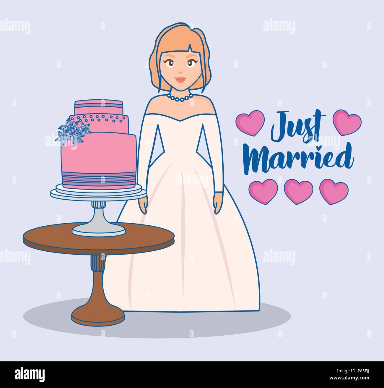 Cartoon Braut Und Tisch Mit Hochzeitstorte Auf Blauem Hintergrund