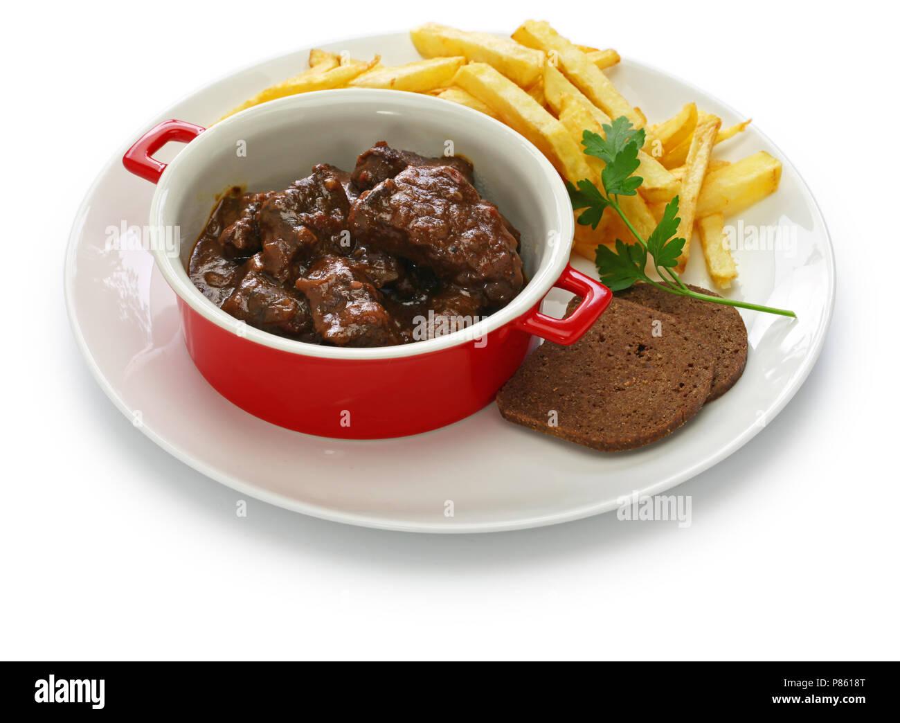 Great Carbonade Flamande Mit Pommes Frites, Flämischen Rindereintopf, Belgische  Küche