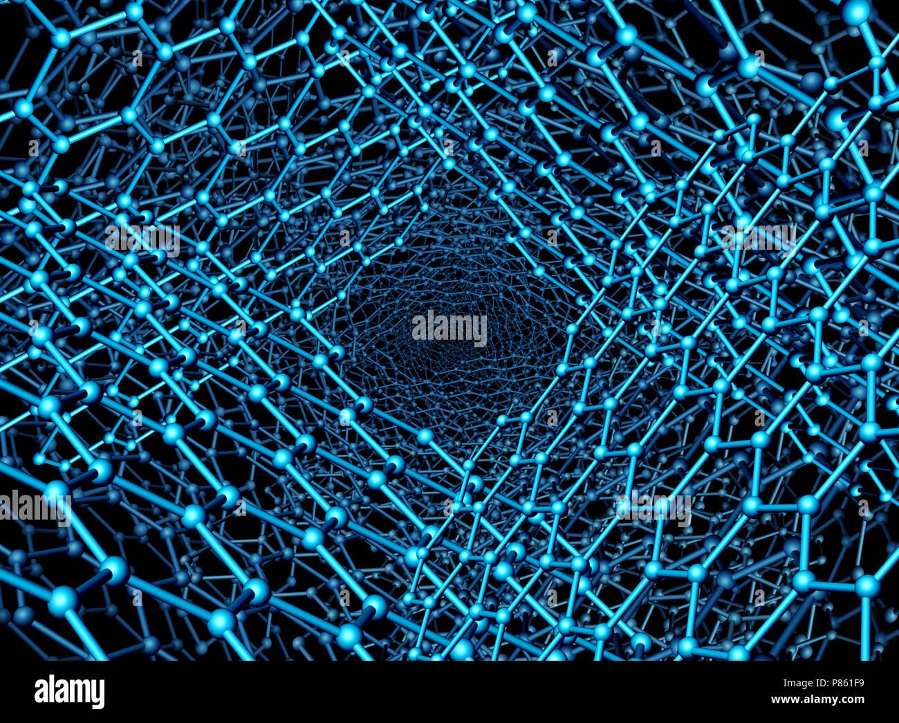 Nanotechnologie hintergrund abbildung als Graphen atomare Struktur als 3D-Render. Stockbild
