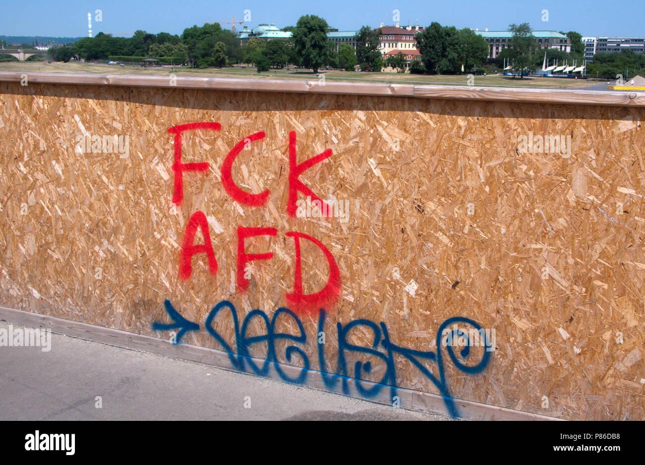 Protest Graffiti gegen den rechten Flügel der deutschen politischen Partei, Alternative für Deutschland (AfD), Dresden, Sachsen, Deutschland. Stockbild