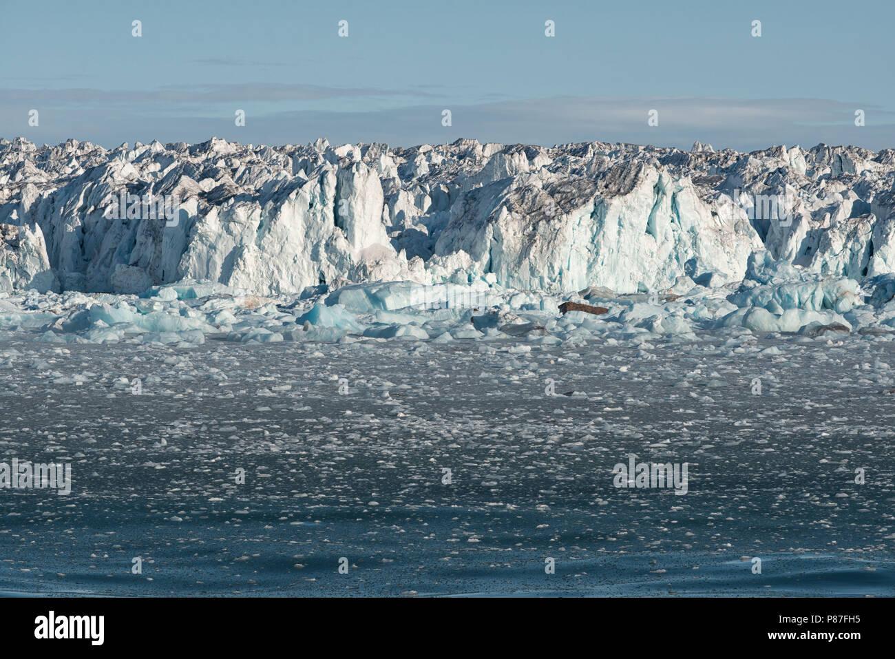 Rand der arktischen Eiskappe Austfonna auf Nordaustlandet, Svalbard, 2017 Stockbild