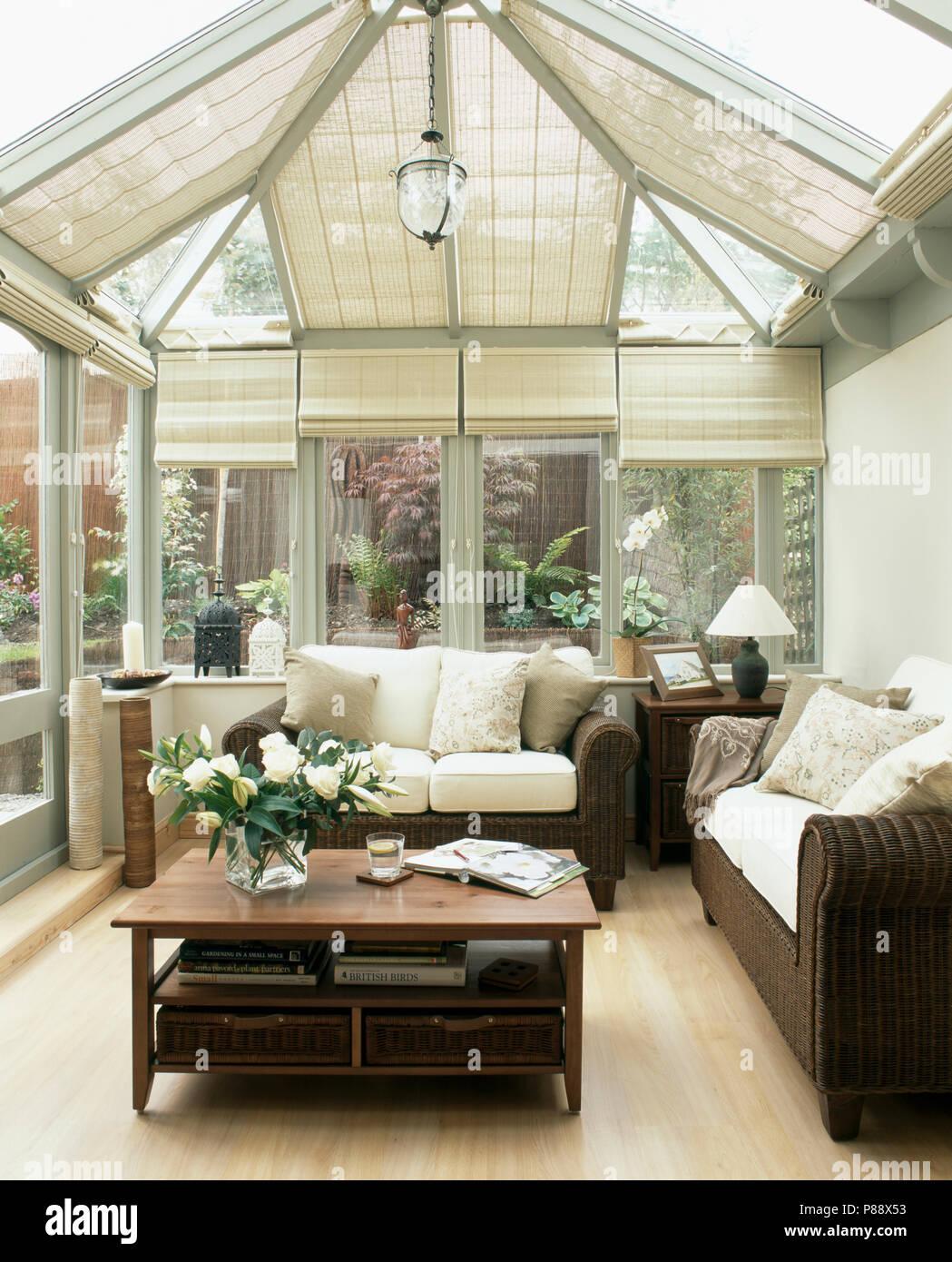 Braune Sofas Mit Sahne Kissen In Modernen Wintergarten Wohnzimmer