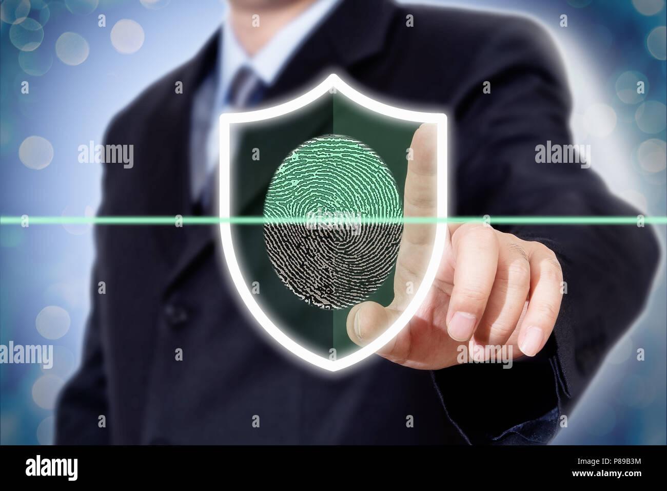 Geschäftsmann drücken moderne Technologie panel Fingerabdruck Stockbild