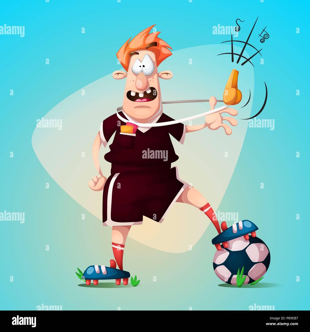 Lustig Niedlich Cartoon Fussball Schiedsrichter Vektor