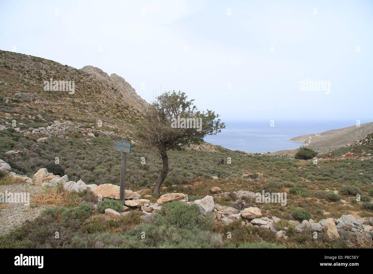Wanderweg, Tilos, Griechenland Stockbild