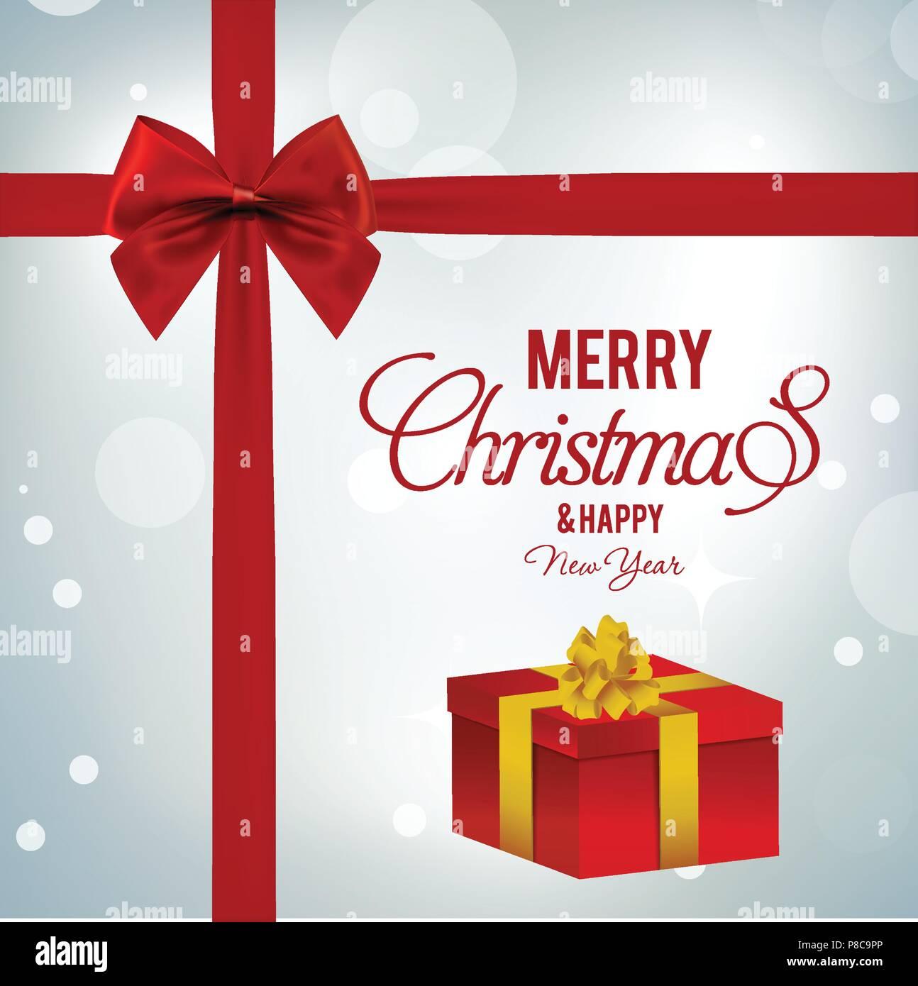 weihnachtsgr e karte mit hellen hintergrund rot farbband. Black Bedroom Furniture Sets. Home Design Ideas