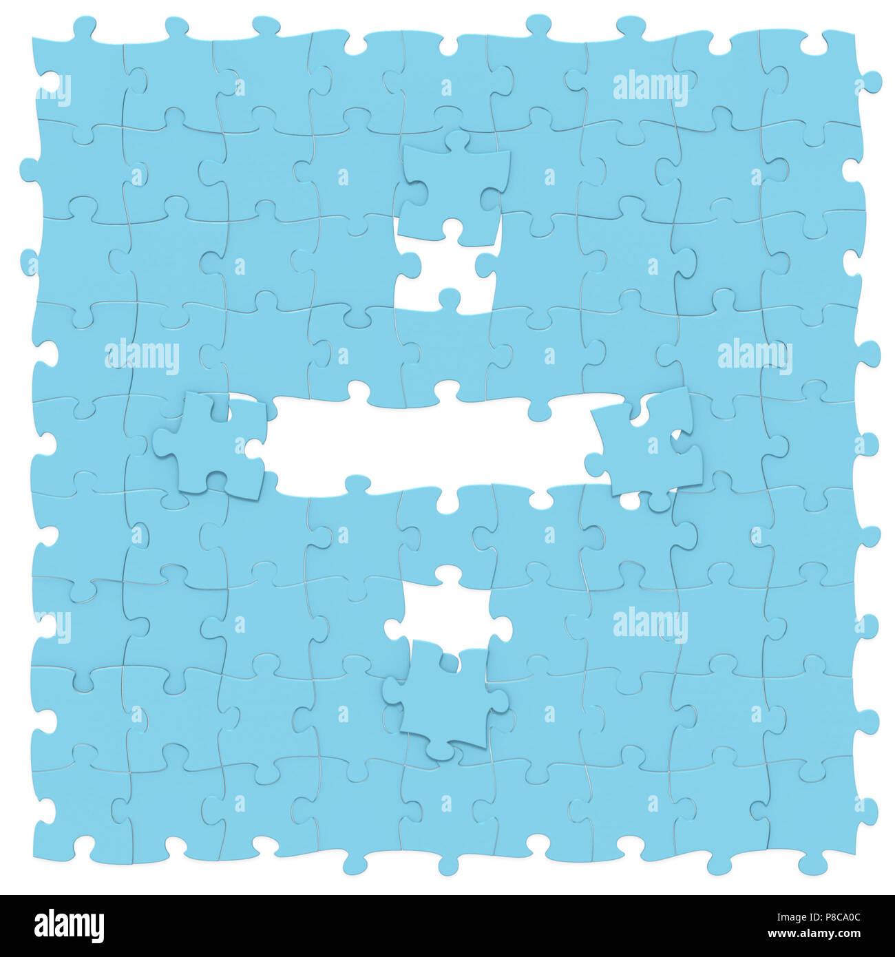Blau Jigsaw Puzzles zusammengesetzt wie mathematische Operation ...
