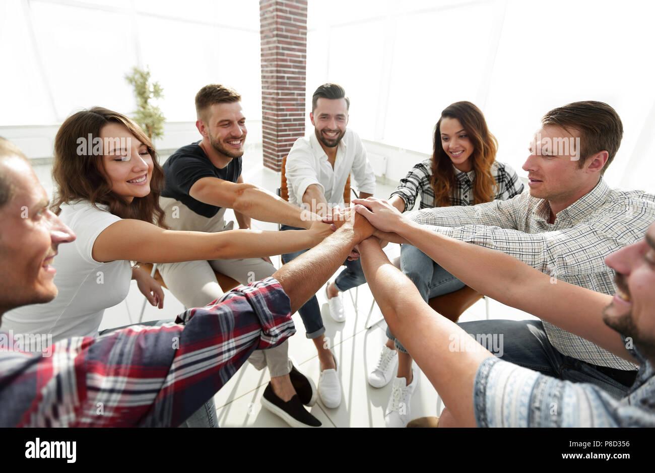 Unified Business Team. Das Konzept der Teamarbeit Stockbild