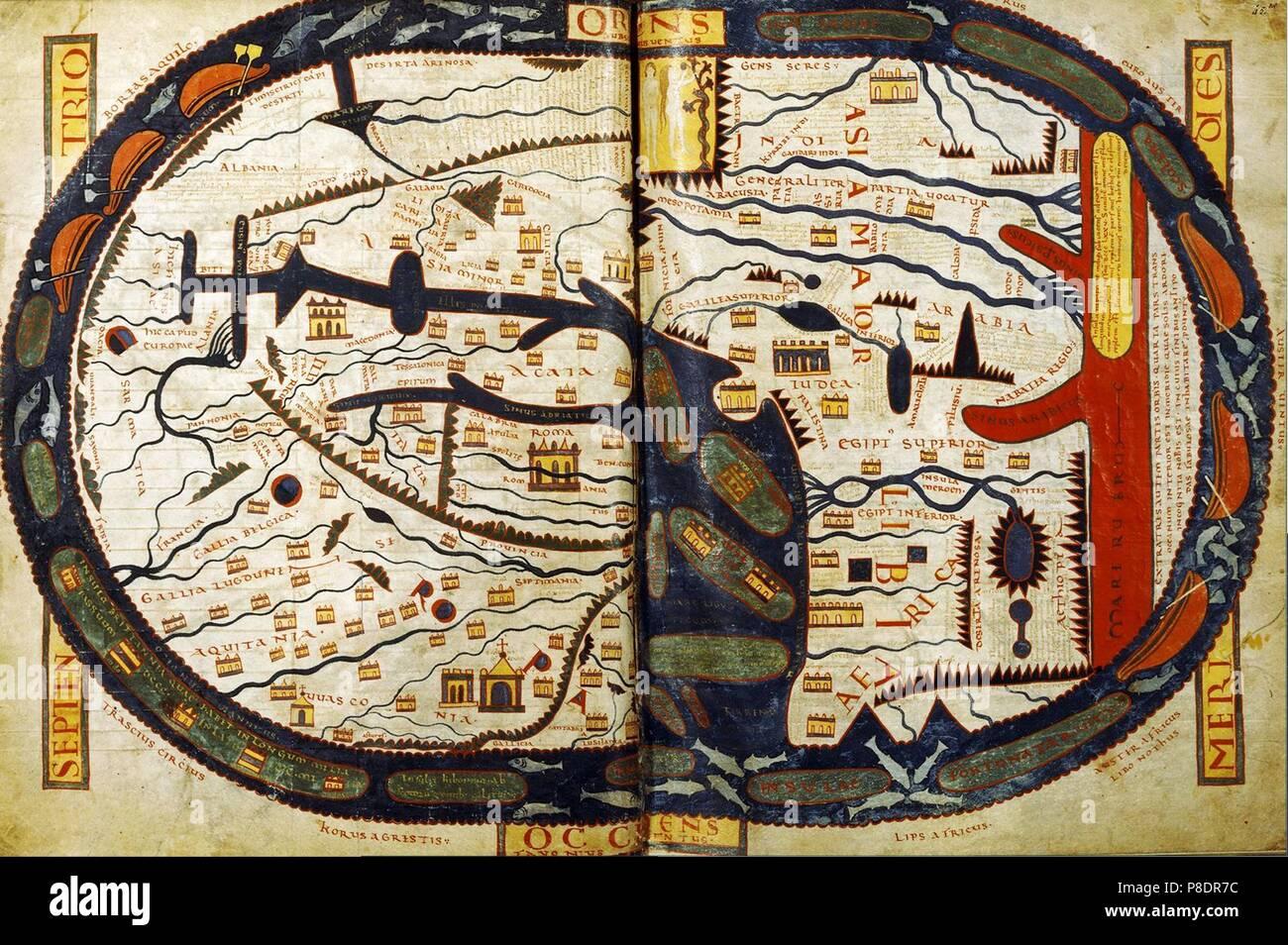 Die Karte Welt Der Saint Sever Beatus Museum Bibliotheque