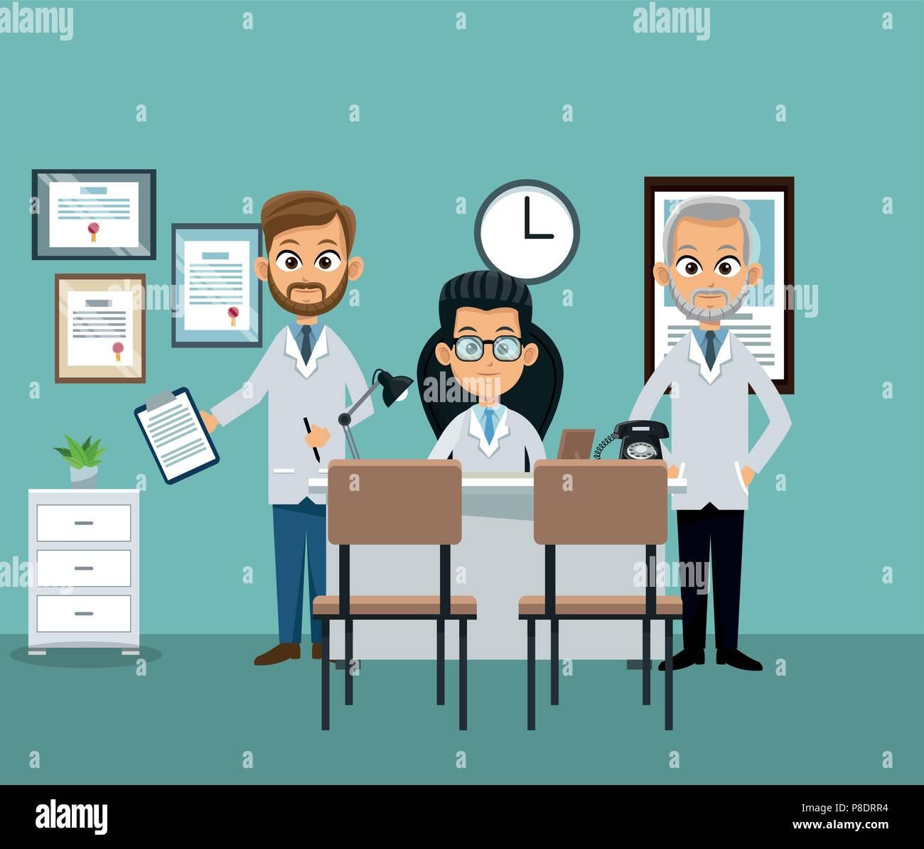 Arzte Buro Cartoon Vektor Abbildung Bild 211745720 Alamy