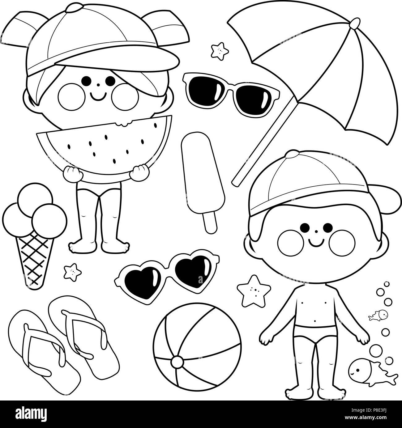 Kinder mit Badeanzüge und Hüte. Strand Sommer Urlaub Design Elemente ...