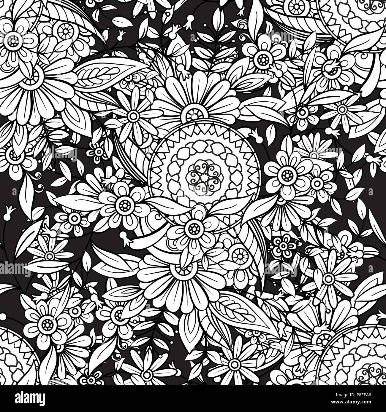 Florale nahtlose Muster in Schwarz und Weiß. Nach Malbuch Seite mit Blumen und Mandalas. Hand Vektor-illustration schwarzen Hintergrund gezeichnet Stockbild