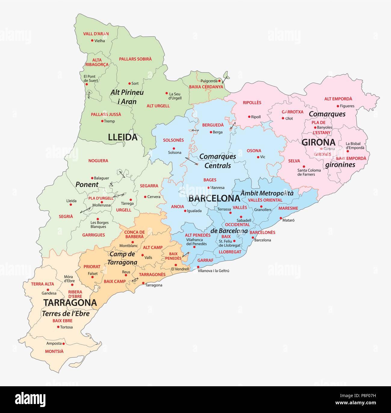 Katalonien administrative und politische Vektorkarte Stockbild