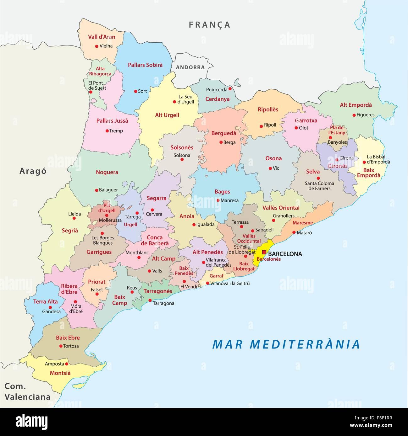 Katalonien, administrative comarca Vektorkarte. Stockbild
