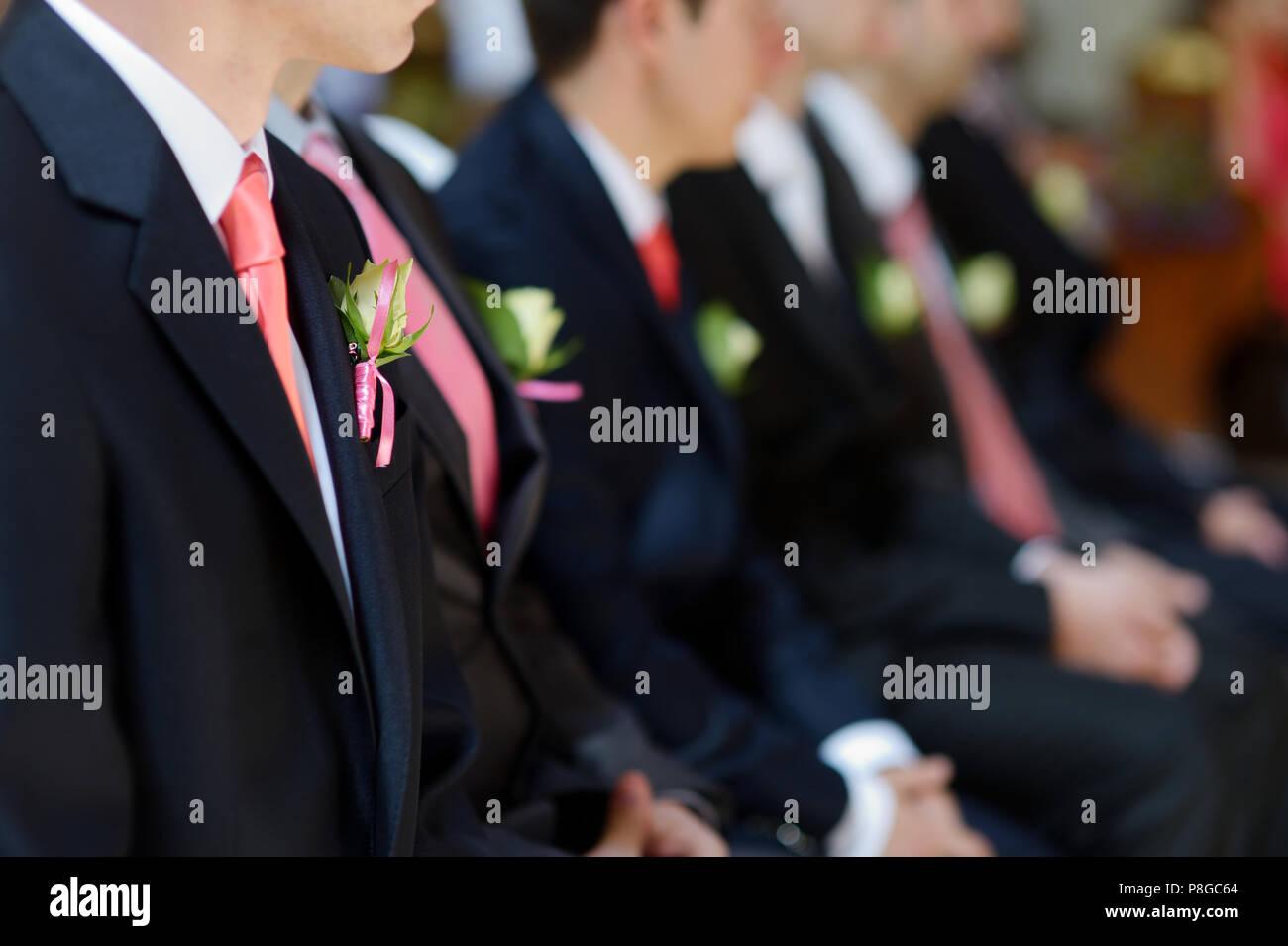 Hochzeit Anstecker Auf Anzug Jacke Der Brautigam Mann Stockfoto
