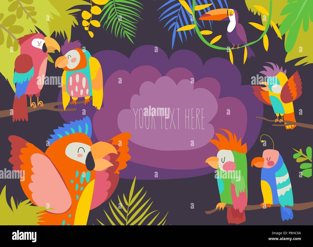 Cartoon tropisches Paradies Rahmen mit Papageien Vektor Abbildung ...
