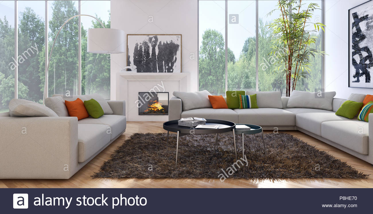 modernes helles interieur 3d rendering illustration