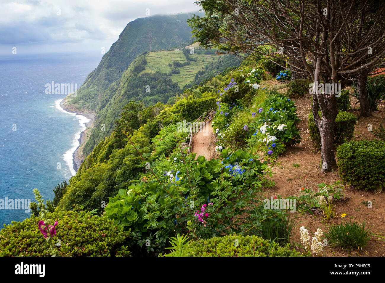 Aussichtspunkt Ponta do Sossego, Sao Miguel, Azoren, Portugal Stockbild