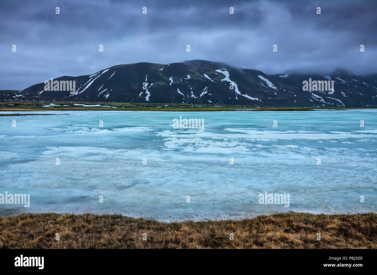 Eisschmelze in der isländischen Wildnis Stockbild