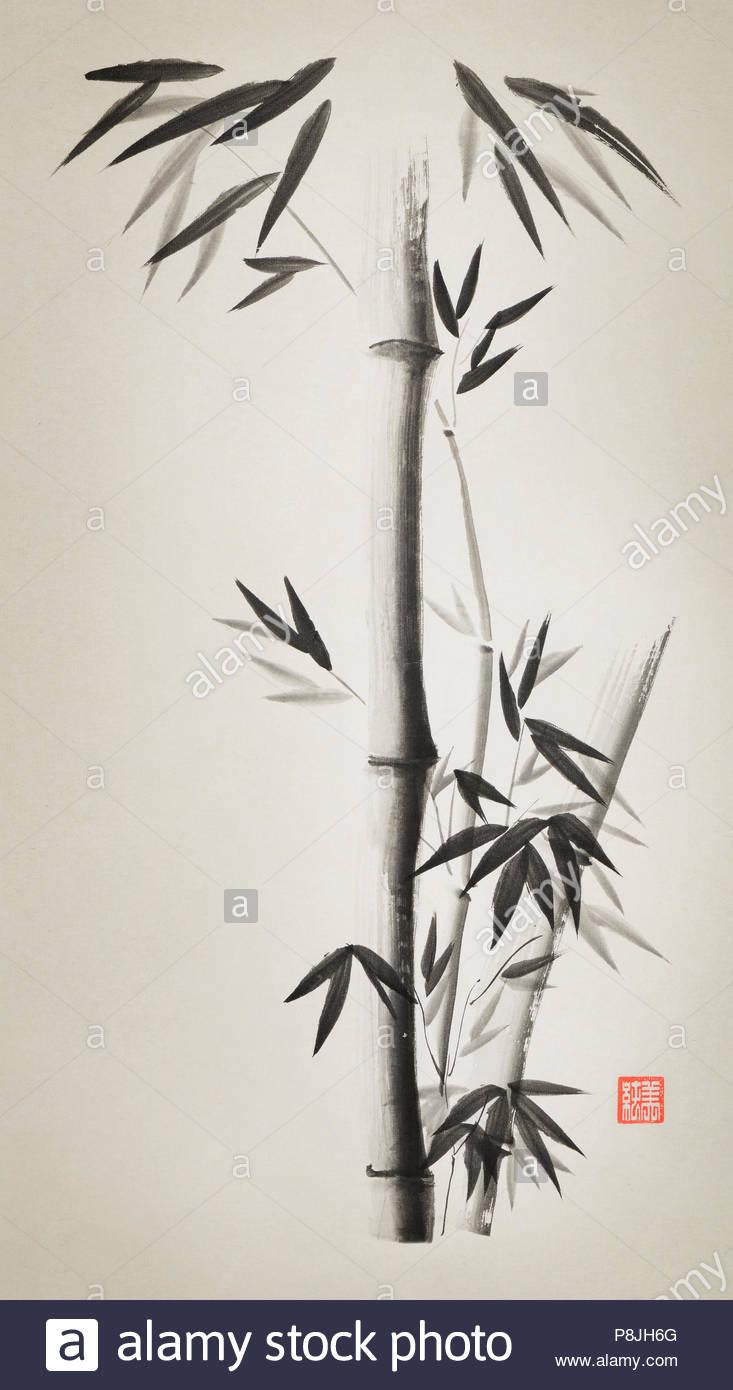 Minimalistischer Bambus Stengel Mit Blattern Kunstlerische
