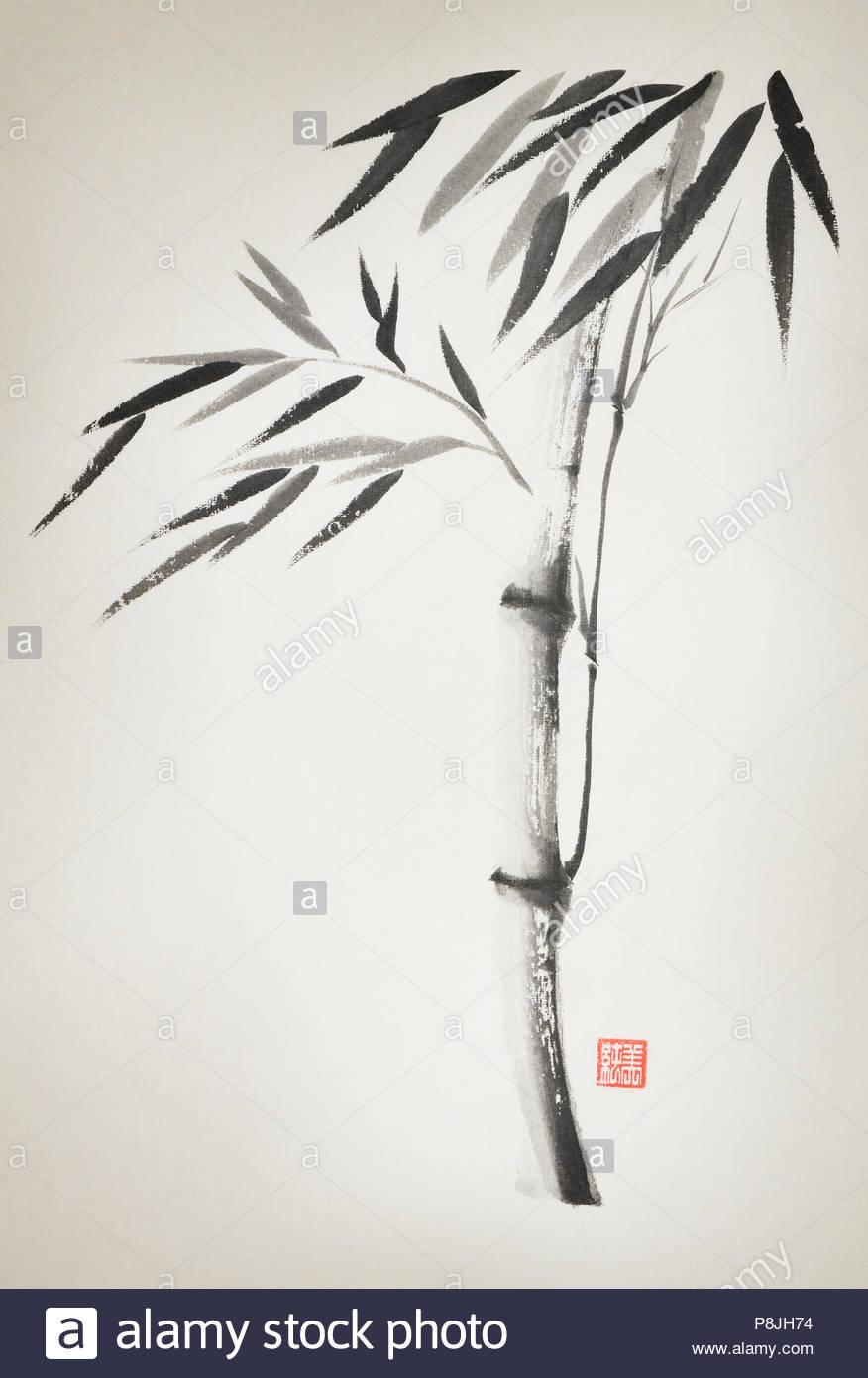 Bambus Stiel Mit Blattern Kunstlerische Orientalischen Stil