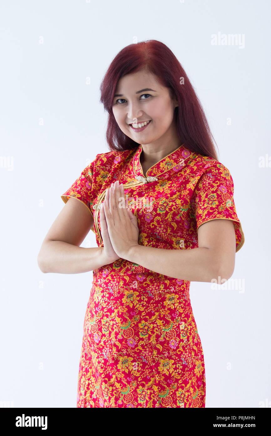 Chinesisches Mädchen wünschen Ihnen ein Frohes und Erfolgreiches ...