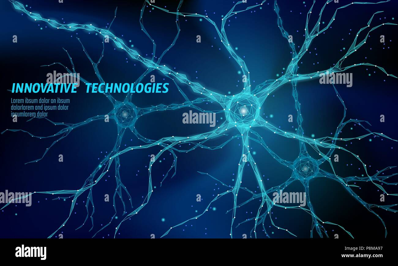 Menschliche neuron Low Poly Anatomie Konzept. Künstliche neuronale ...