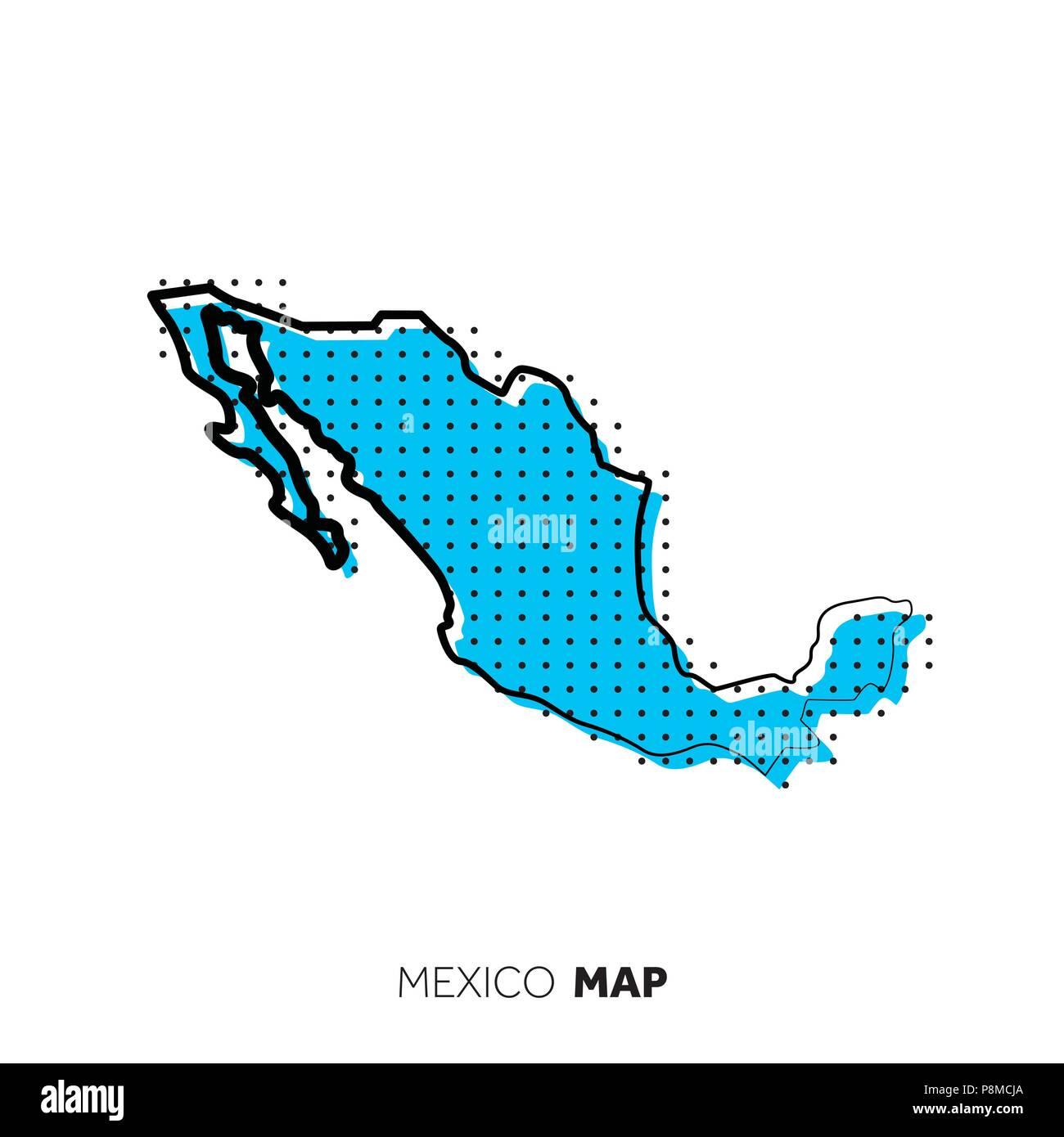 Mexiko Karte Umriss.Mexiko Vektor Land Karte Karte Umriss Mit Punkten Vektor